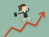 business woman jump over growing chart