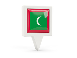 Square flag icon of maldives
