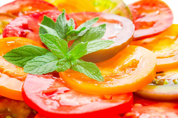 Colorful Tomato Slices with green branch of mint, Fresh Organic