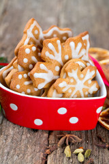 Christmas cookies in a beautiful red bowl