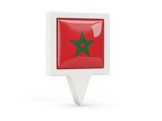 Square flag icon of morocco