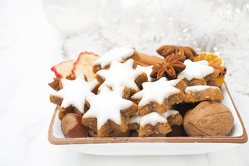 star cookies, nuts, spices, Christmas decorations
