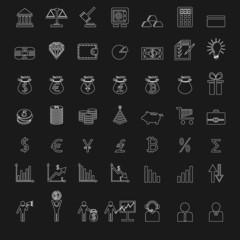 outline finance icons set on blackboard.