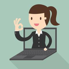 Business woman in laptop screen