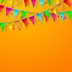 Orange Сelebration festive background with flags