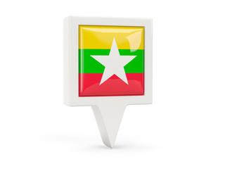 Square flag icon of myanmar