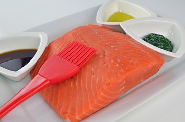 Raw Chinook Salmon Fillet With Olive Oil And Dill