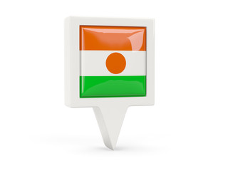 Square flag icon of niger