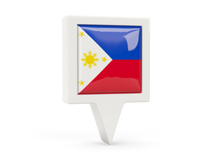 Square flag icon of philippines