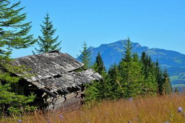 Hütte im Gebirge, Herbst