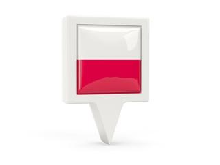 Square flag icon of poland