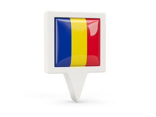 Square flag icon of romania