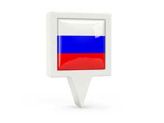 Square flag icon of russia