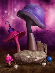 Baśniowe fioletowe i niebieskie grzyby w różowym lesie