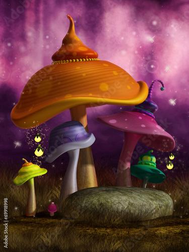 Kolorowe grzyby i skała w różowym lesie