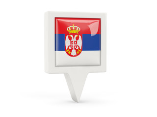 Square flag icon of serbia