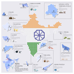 Dot And Flag Map Of India Infographic Design
