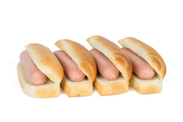 Four tasty hotdogs