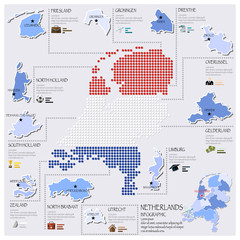 Dot And Flag Map Of Netherlands Infographic Design