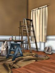Pokój w czasie malowania