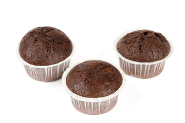 Three chocolate muffins