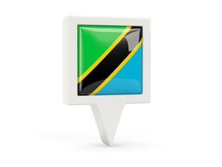 Square flag icon of tanzania