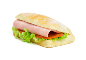 One sandwich with slice of ham