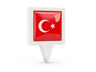 Square flag icon of turkey
