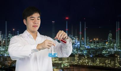 Investigator checking test tubes