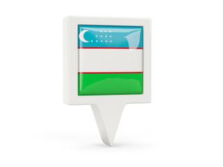 Square flag icon of uzbekistan