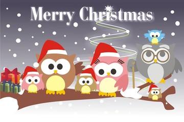familia buho Merry Christmas