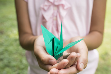 Girl with the origami crane