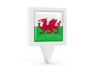 Square flag icon of wales