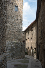 Medieval street of ancient town Besalu, Girona province, Catalon