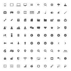 Set of multimedia icons for web and mobile on white