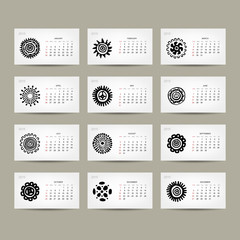 Calendar grid 2015 for your design, ethnic ornament