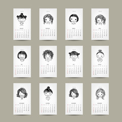 Calendar grid 2015, cute girls design