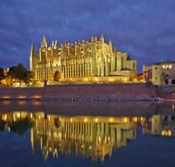 Palma de Mallorca cathedral.Night view.