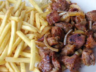 pork steak with french fries