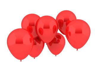 Seven Party Balloons in red Color