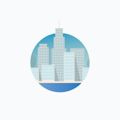 Vector icon in flat style - city
