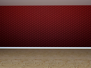 Empty room in 3D with red wall