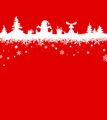 Weihnachtskarte Santa Claus Schneemann Rentier