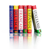 Fototapety Stack of dictionaries isolated