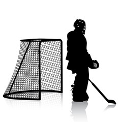 Silhouettes of hockey player. Isolated on white.
