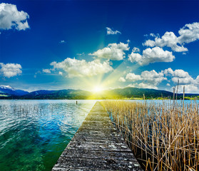 Pier in the lake in countryside