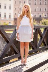 Beautiful model in white skirt