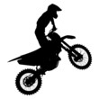 Black silhouettes Motocross rider on a motorcycle - 69924120