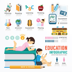 Infographic Education Template Design . Concept Vector