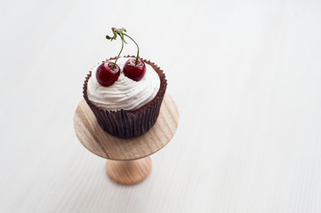 Cupcake with cherries